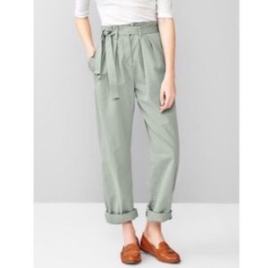 GAP high waist paper bag wide leg trousers w/ belt